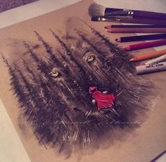 Red Riding Hood & The Big Bad Wolf Drawing