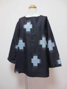 ○。着物リメイク。○ 手作り 古布 銘仙のブラウス_画像1