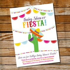 Mexican Fiesta Baby Shower Invitation by SunshineParties on.......so colorful!