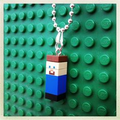 Minecraft Lego minifigure necklace. Great Christmas stocking gift idea for Minecraft lovers! Steve hangs in a 46cm silver plated ball chain necklace and is nickel/lead free. More Minecraft LEGO mini figure necklaces available at gagabricks.etsy.com