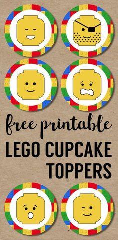 Lego Cupcake Toppers Printable. Free printable lego man party cupcake decoration. Easy DIY lego party. How to make simple lego treats. #papertraildesign #lego #legoparty #legocupcakes