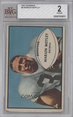 Marion Motley BVG GRADED 2 Cleveland Browns (Football Card) 1953 Bowman #9 by Bowman. $28.00. 1953 Bowman #9 - Marion Motley BVG GRADED 2