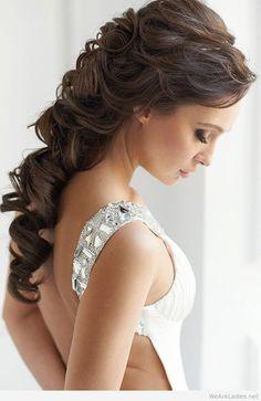 Long hair one shoulder dress