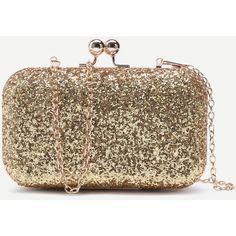 SheIn(sheinside) Gold Glitter Evening Bag With Chain ($17) ❤ liked on Polyvore featuring bags, handbags, clutches, sequin clutches, evening handbags, gold purse, gold evening bags clutches and gold clutches