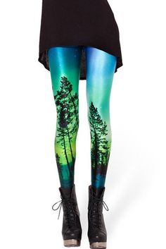 How can you simultaneously experience fluid comfort, a hint of frolicking visual of forestry and a galactic satisfaction? Bewildered? Don't be; just get hold of a pair of galaxy forest leggings. This