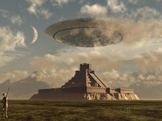 A Reptoid Greets an Incoming Flying Saucer Above a Pyramid. Photographic Print