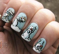 Calvin/Hobbes Winter Nails