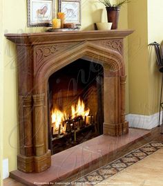 Gothic tudor style wood fireplace mantel with hand carved for Tudor style fireplace