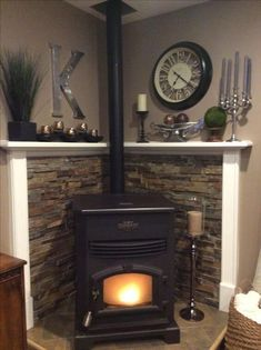 47 Ideas For Living Room Wood Stove Decor Wood Stove Surround, Wood Stove Hearth, Wood Burner, Gas Stove Fireplace, Fireplace Hearth, Craftsman Fireplace, Tile Fireplace, Limestone Fireplace, Farmhouse Fireplace