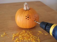 how to carve pumpkins with a drill