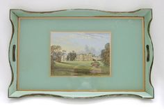 Vtg 1930s-40s butler tray green painted wood stately home print under glass base