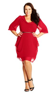 dress in stretch fabric, surplice v-neckline that is cinched at