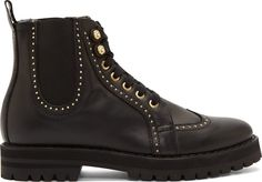 Versus Black Leather Studded Wingtip Boots