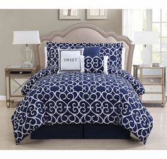 7 Piece Cal King Sweet Navy/White Comforter Set