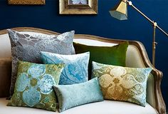 Navy Blue wall and Rich Colored Pillows