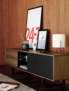 Shop the Aura Media Unit, a modern media cabinet with clean lines and fine craftsmanship, finished in wood and lacquer for striking contrast. Two drawers, a grid-style cubby, a cabinet and cord escapes. Modern Media Cabinets, Modern Furniture, Furniture Design, Sofa Design, Interior Design, Muebles Living, Media Storage, Lp Storage, Audio Room
