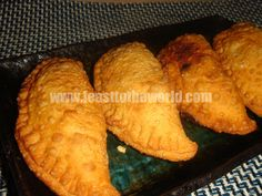 Malaysian Curry Puff - Recipe available on my blog...  http://www.feasttotheworld.com/2012/03/trio-of-southeast-asian-street-food.html