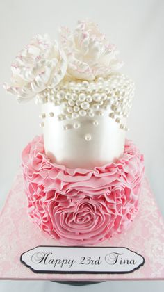 Pink ruffles, flowers and lustre finish cake