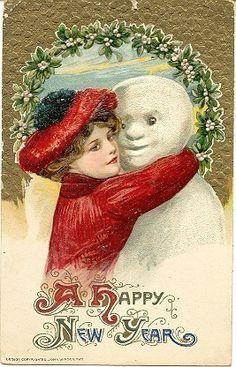 """ I Love The Snowman "" Karodens Vintage Post Cards."