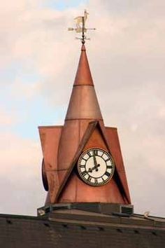 Copper Clock Tower and Weather vane