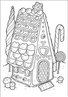 Gingerbread House Coloring Pages Adult And Children S Coloring