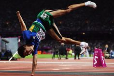 Yohansson Nascimento of Brazil celebrates finishing second in the Men's 400m T46 final
