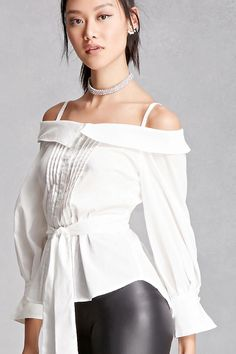 Forever 21 is the authority on fashion & the go-to retailer for the latest trends, styles & the hottest deals. Shop dresses, tops, tees, leggings & more! White Cold Shoulder Top, Fall Outfits, Cute Outfits, Tie Waist Top, High Neck Blouse, Forever 21, Ruffle Blouse, My Style, Cuff Sleeves
