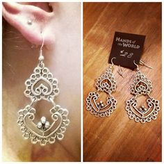 Stunning filigree earrings are made with miscellaneous metals. Made in Turkey, $28.