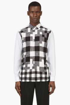 NEIL BARRETT Black & White Check Print Button Down Shirt