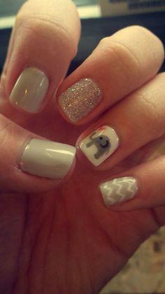 Elephant nails Animal Nail Designs, Girls Nail Designs, Baby Shower Nails, Baby Nails, Gel Nail Art, Gel Nails, Nail Polish, Elephant Nail Art, Elephant Baby