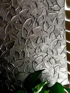 Pewter Textured Leaves Fine Art Metallic Impasto by AtelierShea