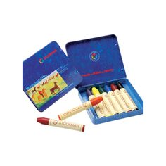 These Stockmar beeswaxstick crayons are ideal for young children, as they are larger and sturdier than traditional crayons. This set of8 colors comes in a nice storage tin. Thesebeeswaxcrayonsare an ideal replacement for traditional petroleum based crayons: they are made of natural beeswax, they don't break easily, they will last much longer and they smell nice too!
