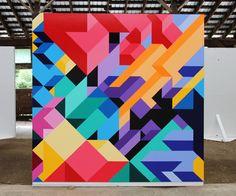 by New York artist Adam Daily. by New York artist Adam Daily. by New York artist Adam Daily. Wall Painting Decor, Mural Wall Art, Art Decor, Canvas Wall Art, Abstract Geometric Art, Geometric Graphic, Geometric Animal, Graphic Art, Art Design
