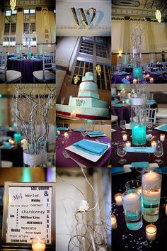 purple and teal color scheme.  Perfect for a fun wedding