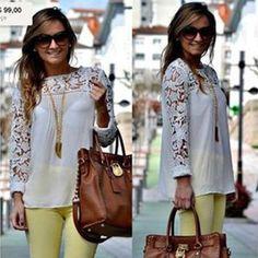 Style:Fashion Color:Black,White,Yellow,Dark Blue Material:Lace + Chiffon Size:S/M/L/XL S:Bust:90cm(35.43