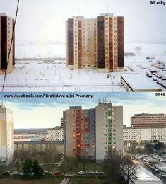 Petržalka-pohľad na Jasovskú ulicu.v pozadí Južne mesto 🏢🏢🏢 Bratislava, News Media, Marina Bay Sands, Building, Nostalgia, Travel, Google, Viajes, Buildings