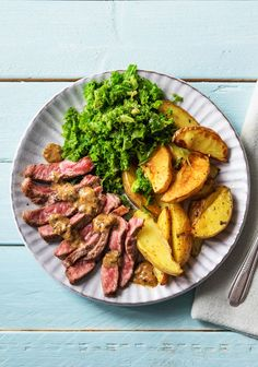 "Easy steak recipe with creamy peppercorn sauce, kale, and roasted potatoes  | Try HelloFresh today with code ""HelloPinterest"" and receive $25 off your first  box."
