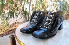 Vintage 1960's Shiny Black Patent Square Toe Decorative Silver Buckle Slip On Mod Loafer Shoes Chunky Heel Size 6 7. $38.00, via Etsy.