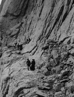 Detail of photo: Well-dressed(!) men and women stand near rock formations in a place identified as the Narrows on a cliff on a trail to Longs Peak, Boulder County, Colorado. Native American Women, Native American History, American Indians, Old Pictures, Old Photos, Colorado Homes, American Frontier, Rock Formations, Estes Park