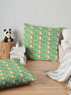 'Yellow and Green Fish' Floor Pillow by MadoMade Fish Design, Floor Cushions, Pillow Design, Throw Pillows, Flooring, Yellow, Green, Prints, Fun