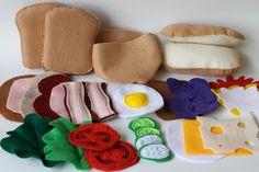 Felt Food Ultimate Sandwich Kit Play Bread, sub roll Pita Three for one 31 pieces. $32.00, via Etsy.