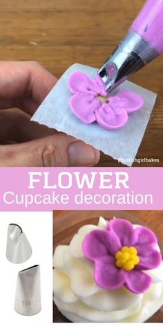 Here's a quick way to make plain cupcakes look fancy - they took less than 30 seconds to pipe! (purple flower) and 104 (orange flower) with a round tip 4 for the yellow middles. Cake Decorating For Beginners, Creative Cake Decorating, Cake Decorating Videos, Cookie Decorating, Frosting Techniques, Frosting Tips, Cupcake Frosting Recipes, Cupcake Cakes, Fondant Flowers