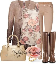 Beige pants with flowered tank