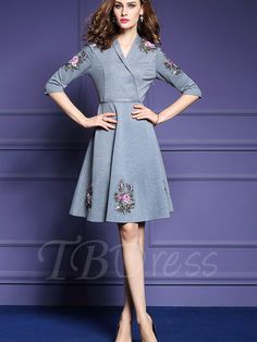 Tbdress.com offers high quality Embroidery Half Sleeve Gray Women's Day Dress Day Dresses unit price of $ 36.99.