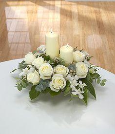 Image detail for -Elegance - white candle flower arrangement - send sympathy flowers