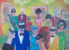 Party, obra de Pacco, cuadro de óleo sobre tabla.