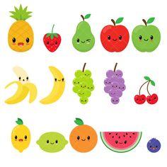 Fruits Drawing, Food Drawing, Kawaii Drawings, Cute Drawings, Kreative Jobs, Happy Fruit, Fruit Clipart, Kawaii Fruit, Fruit Birthday