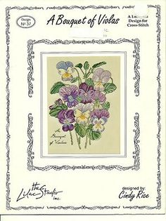 A Bouquet of Violas Cross Stitch Pattern Floral botanical design