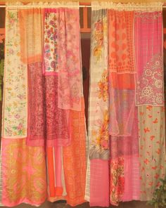 DREAMS OF DELHI Bohemian Gypsy Curtains by BabylonSisters on Etsy - I love every one of the curtains these ladies create but am really diggin' the colors in this one! Bohemian Living, Bohemian Gypsy, Gypsy Style, Bohemian Decor, Bohemian Style, Gypsy Curtains, Beaded Curtains, Gypsy Home, White Sheer Curtains