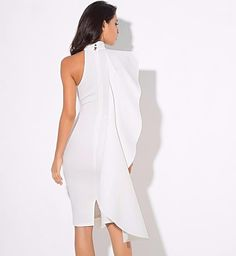 Sexy White High Collar Lotus Leaf Slim Party Dress